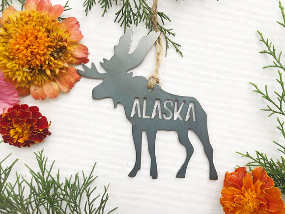 Alaska Moose Ornament made from Raw Steel