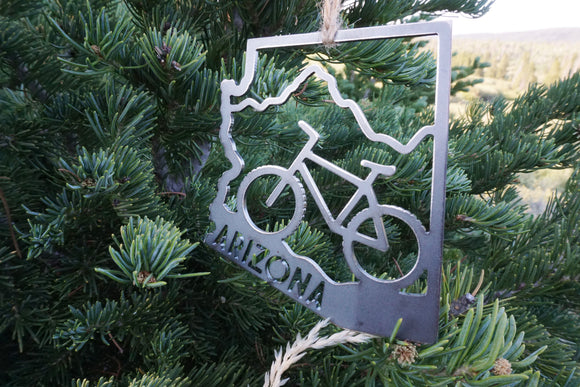Arizona State Metal Biking Ornament