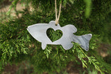 Bass Fish Metal Ornament with Heart