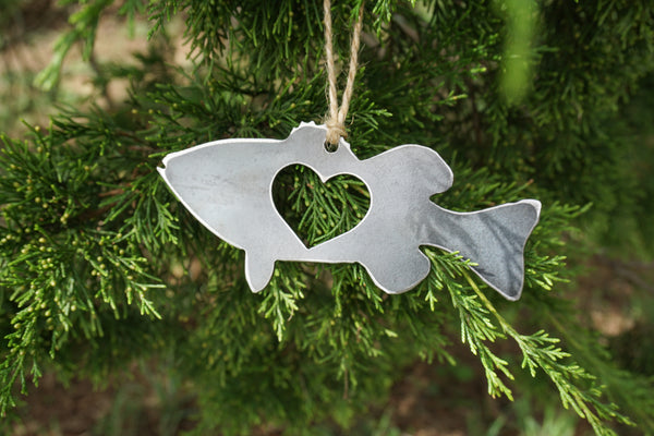 Bass Fish Ornament with Heart