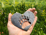 Bear Paw Metal Ornament in Heart
