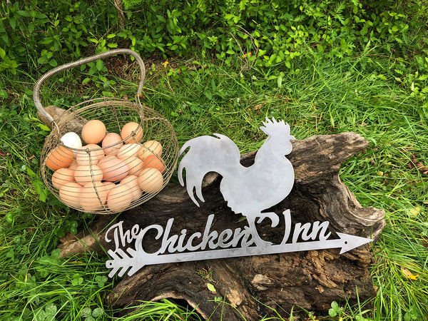 The Chicken Inn Rustic Raw Steel Sign Farmhouse Decor By BE Creations