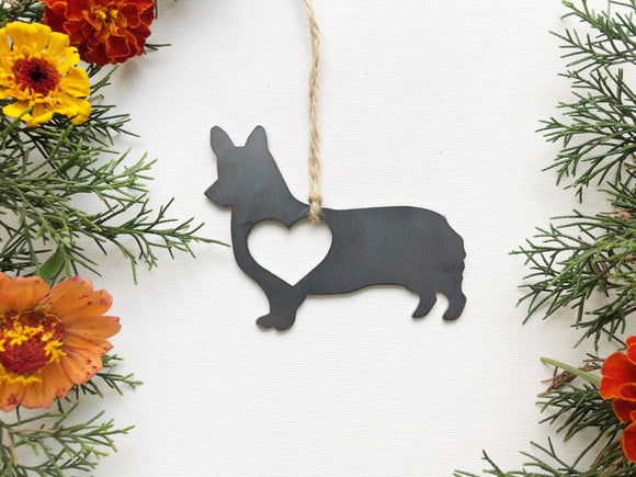 Corgi Metal Ornament with Heart
