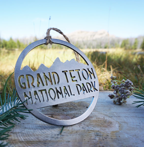 Grand Teton National Park Ornament made from Recycled Steel