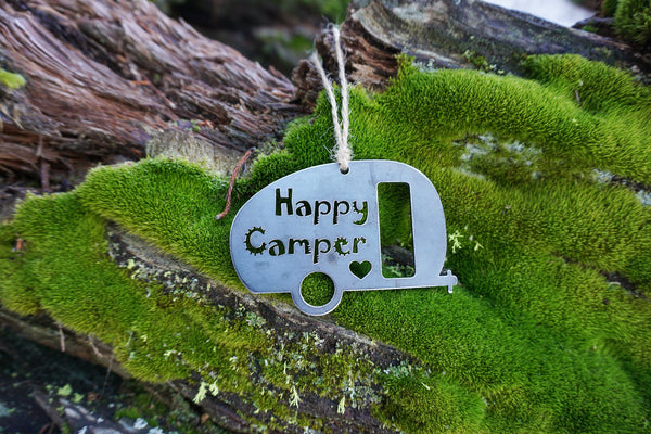 Happy Camper Ornament made from Recycled Raw Steel
