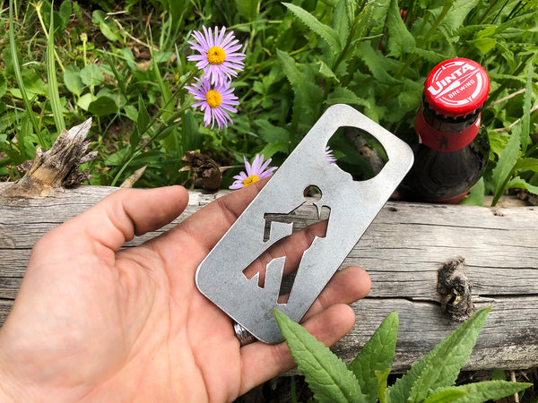 Hiker Bottle Opener Rustic Raw Steel