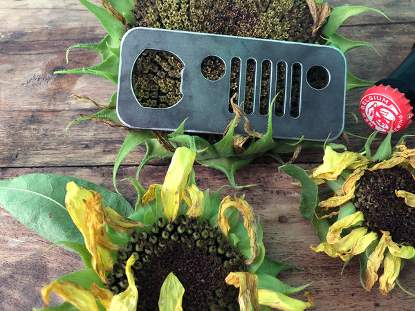 Jeep Bottle Opener Rustic Raw Steel