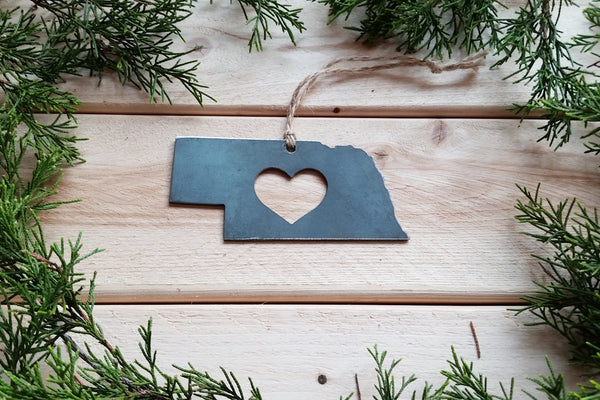 Nebraska State Metal Ornament with Heart
