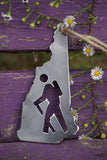 New Hampshire State Metal Ornament with Hiker