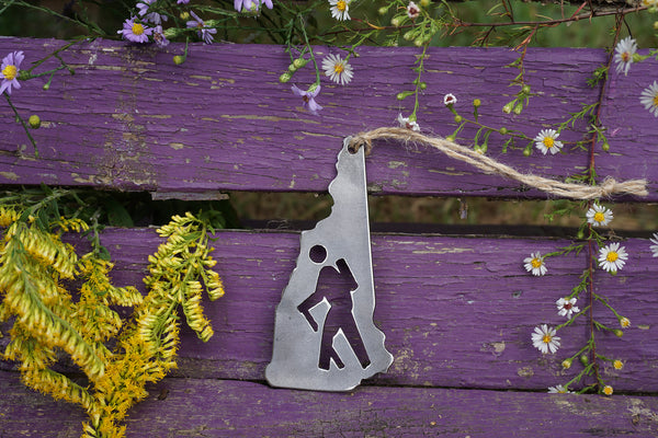 New Hampshire State Hiker Rustic Raw Steel Ornament