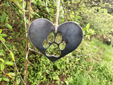 Dog Paw Metal Ornament in Heart