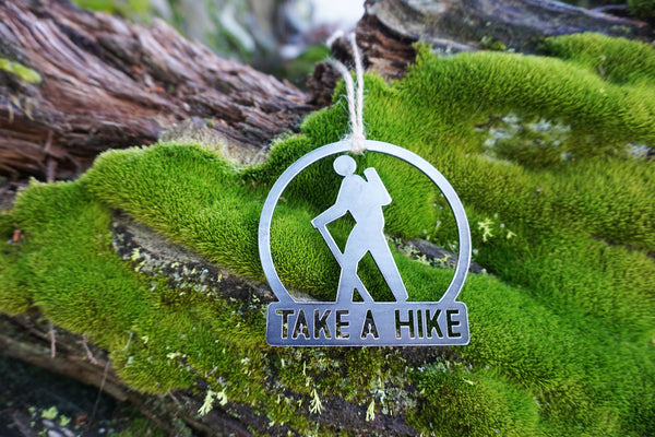 Take A Hike Hiker Ornament made from Recycled steel