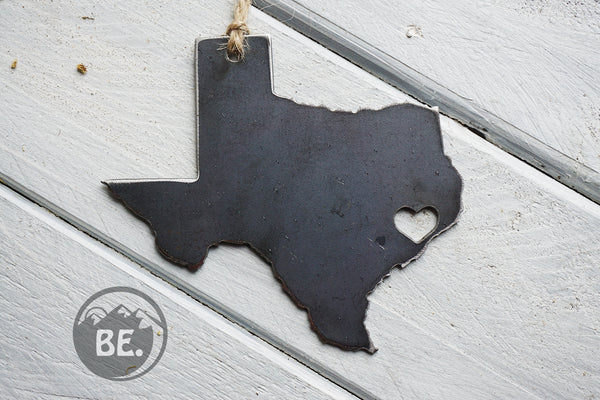 Houston Texas Rustic Raw Steel Ornament TX By BE Creations