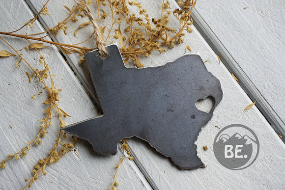 Texas State Metal Ornament with tiny heart over Houston