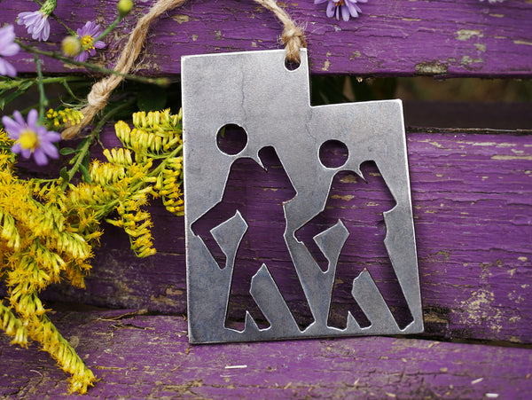 Utah State Hikers Rustic Raw Steel Ornament