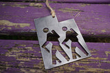 Utah State Metal Ornament with Hikers