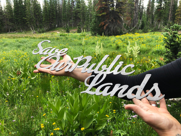Save Our Public Lands Steel Cursive Word Art Sign