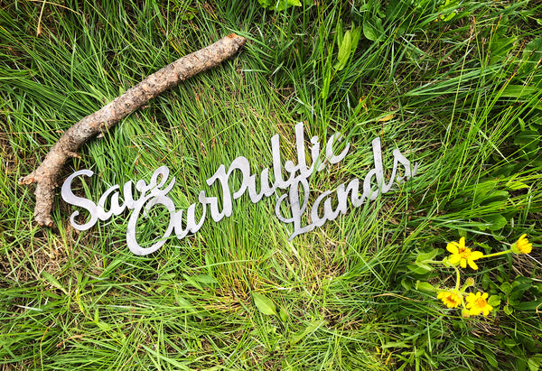 """Save Our Public Lands"" Rustic Raw Steel Cursive Metal Word Art Sign"