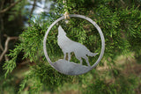 Wolf Howling at the Moon Metal Ornament