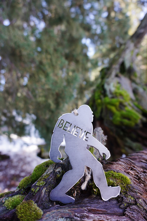 Believe in Bigfoot Metal Ornament