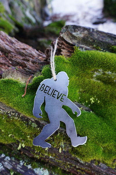 Believe in Bigfoot Ornament made from sustainable recycled raw steel