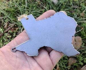 Texas State Metal Ornament with tiny heart over El Paso