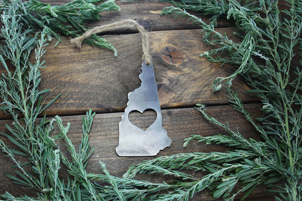 New Hampshire State Rustic Raw Steel Metal Ornament
