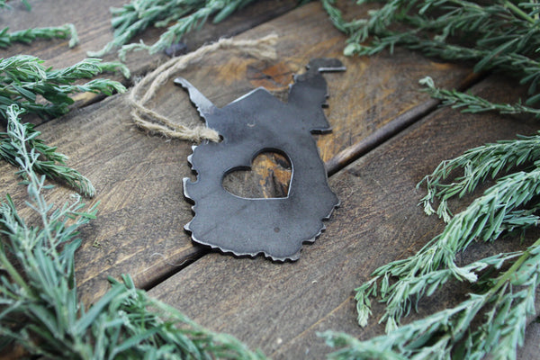 West Virginia State Metal Christmas Ornament with Heart