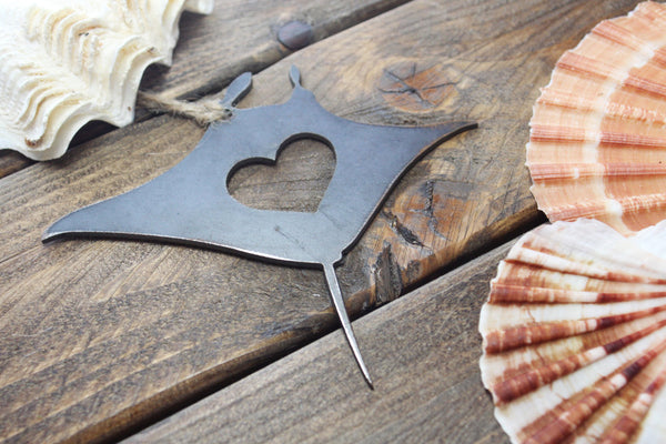 Manta Ray Ornament Rustic Raw Steel Metal Recycled Heart Christmas Tree Ornament Holiday Gift Industrial Decor Wedding Favor By BE Creations