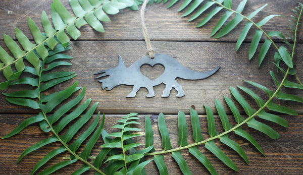 Triceratops Dinosaur Rustic Raw Steel Metal Ornament