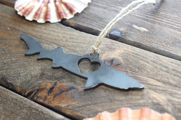 Shark Rustic Raw Steel Metal Ornament