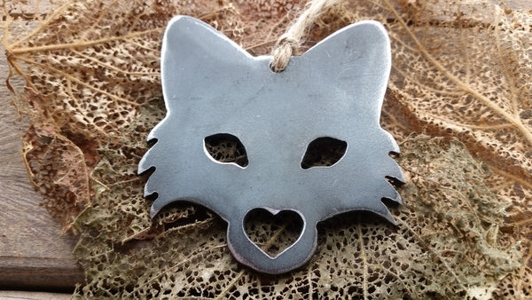 Fox Head Rustic Raw Steel Ornament with Heart