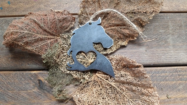 Horse Head Rustic Raw Steel Ornament with Heart