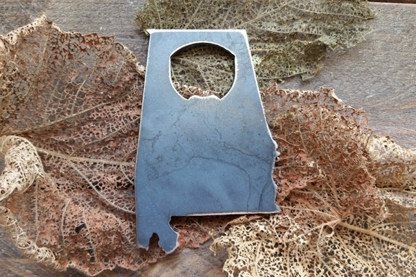 Alabama State Rustic Raw Steel Metal Industrial Bottle Opener