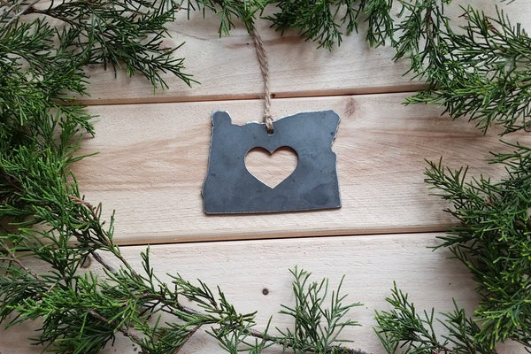 Oregon Christmas Ornament OR Metal State Heart Christmas Tree Ornament Holiday Gift Industrial Decor Wedding Favor By BE Creations