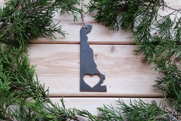 Delaware State Ornament Rustic Raw Steel Love DE Metal Heart Christmas Tree Holiday Gift Industrial Decor Wedding Favor By BE Creations