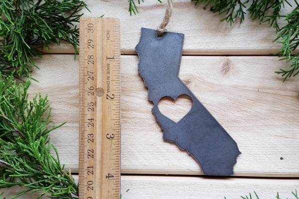 California State Ornament with Heart