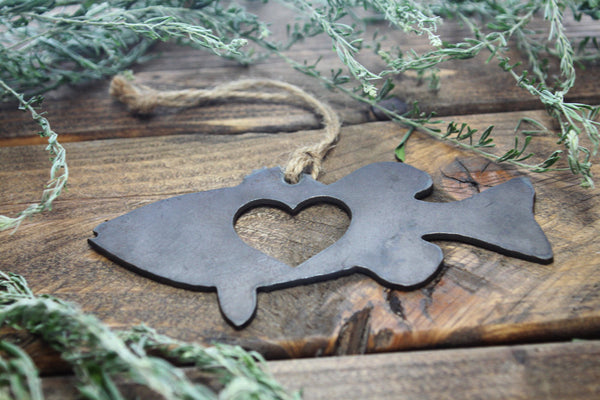 Bass Fish Rustic Metal Raw Steel Christmas Ornament