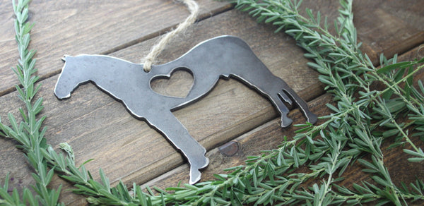 Standing Horse Rustic Raw Steel Ornament with Heart