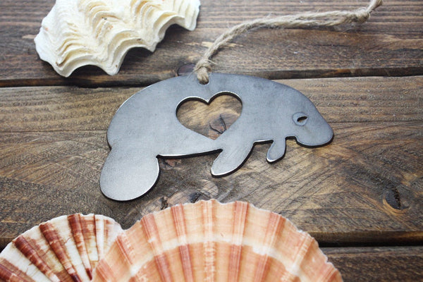 Manatee Ornament Rustic Raw Steel Metal Recycled Heart Christmas Tree Holiday Gift Industrial Decor Wedding Favor By BE Creations