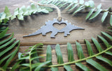 Stegosaurus Dinosaur Metal Ornament with Heart