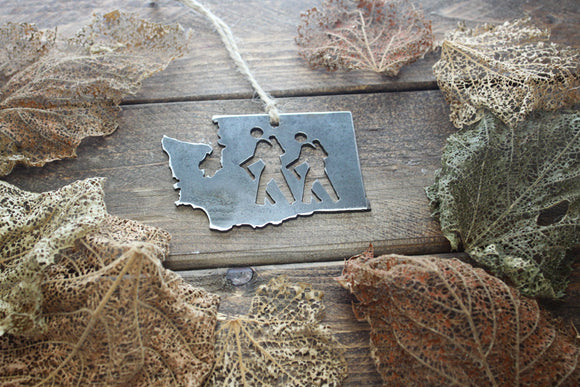 Washington State Metal Ornament with Hikers