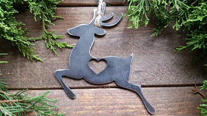 Reindeer Metal Christmas Ornament