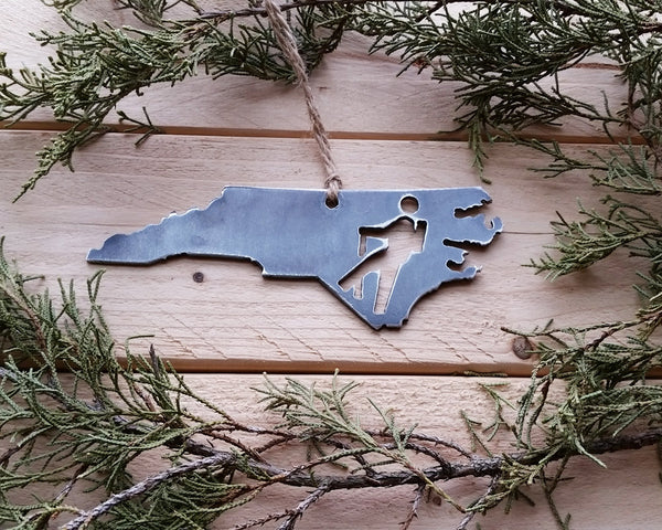 North Carolina State Hiker Metal Ornament