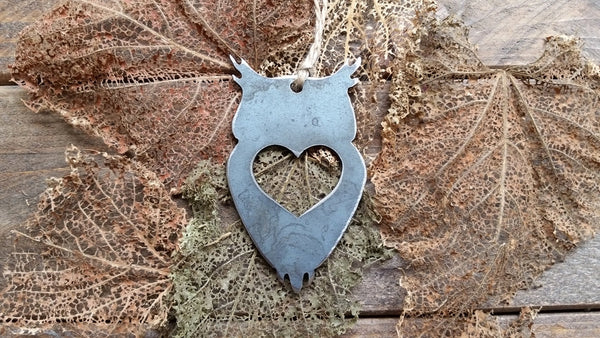 Owl Christmas Ornament Metal with Heart