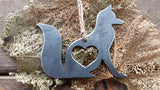 Fox Metal Ornament with Heart