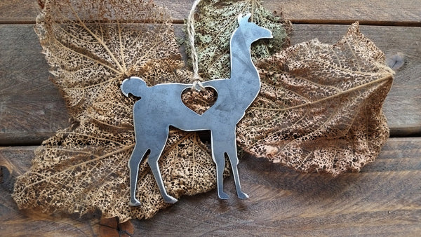 Llama Ornament Rustic Raw Steel Metal Recycled Heart Christmas Tree Ornament Holiday Gift Industrial Decor Wedding Favor By BE Creations