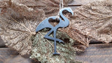 Flamingo Metal Ornament with Heart