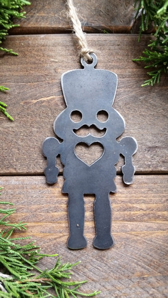 Nutcracker Christmas Rustic Raw Steel Metal Ornament