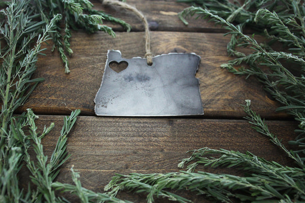 Portland Oregon State Rustic Raw Steel Metal Ornament